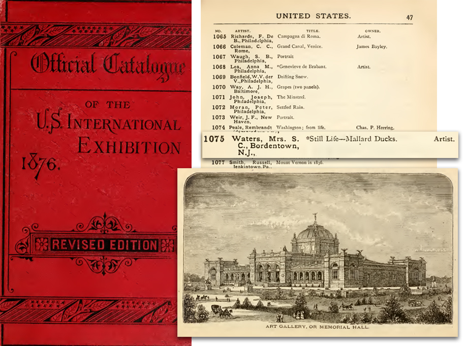 1876 catalog page with cover and gallery pic