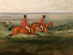 Detail of The Hunt at Belvoir Vale showing the Earl of Wilton, in the lead on the chestnut horse.