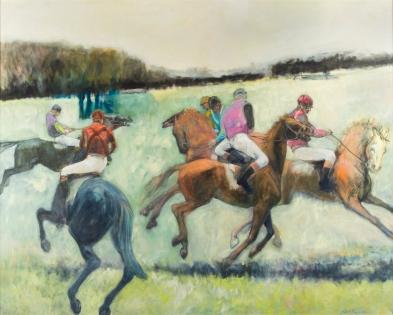 Daphne vom Baur (American, b. 1945) The Start 2004, oil on linen, 48 x 60 in., Gift of Mrs. Peter Manigault, 2015
