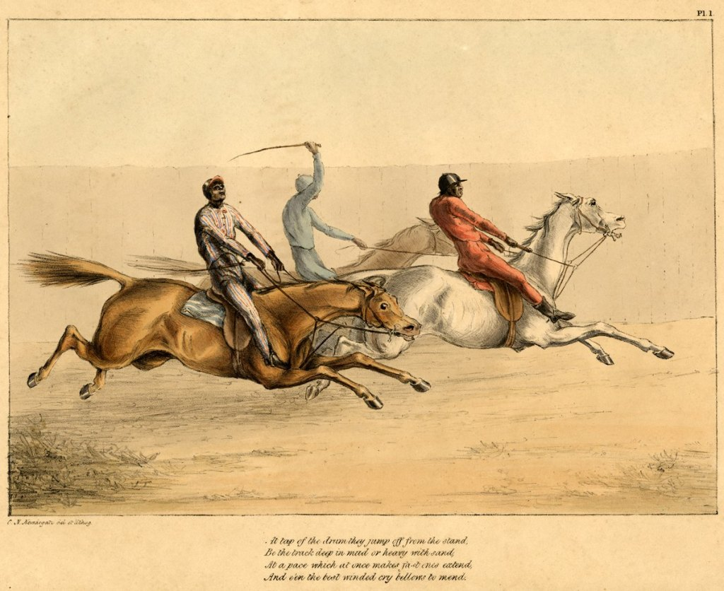 Sketches from the Washington Races in October 1840 by An Eye Witnefs, c. 1841, Charles Newdegate Newdiagte (British 1816-1887). Plate 1.
